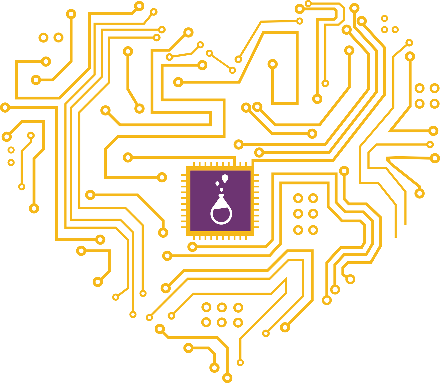 Brilliant Labs logo In the center of a heart formed by electric circuits